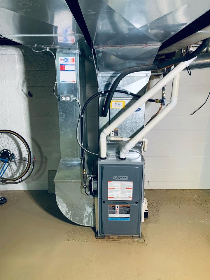 Battle Creek, MI - No Heat repair. Installation of a Armstrong gas furnace.