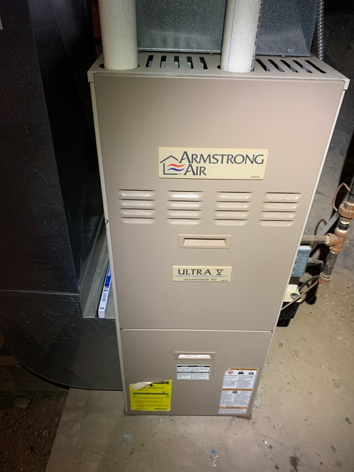 Battle Creek, MI - No heat repair on a Armstrong air gas furnace. Replacement of 16x25x1 filter and cleaning of flame sensor.