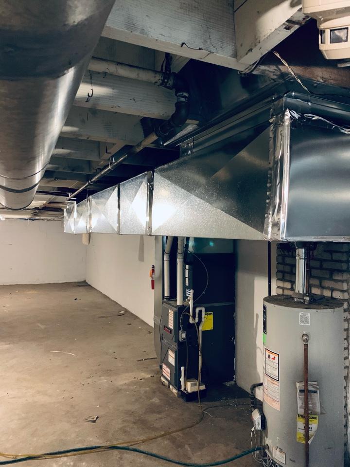 Battle Creek, MI - Reworked return air ductwork with custom. Amana gas furnace.