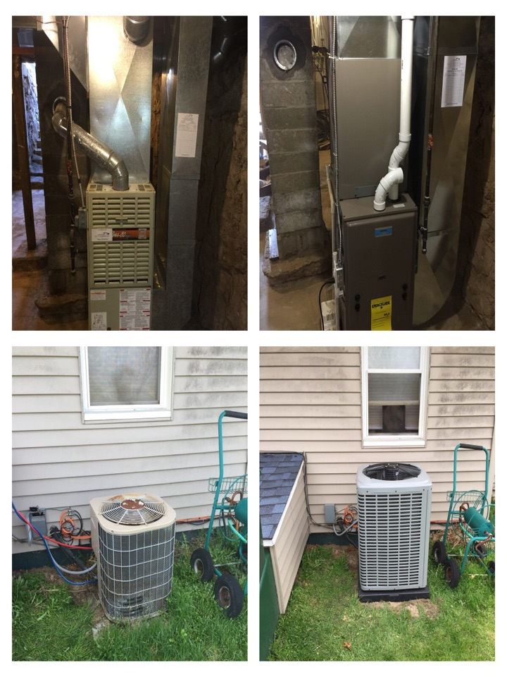 Bellevue, MI - Replaced old Trane Furnace and Central Air with a Luxaire 95.5% with ECM motor and a 15 SEER Central AC. Reworked some duct work with Bigger Ducting.