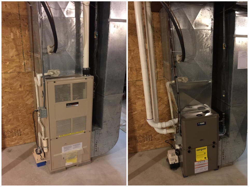 Burlington, MI - Replaced this old worn out Amanna furnace with a 2-stage York 96% Furnace.