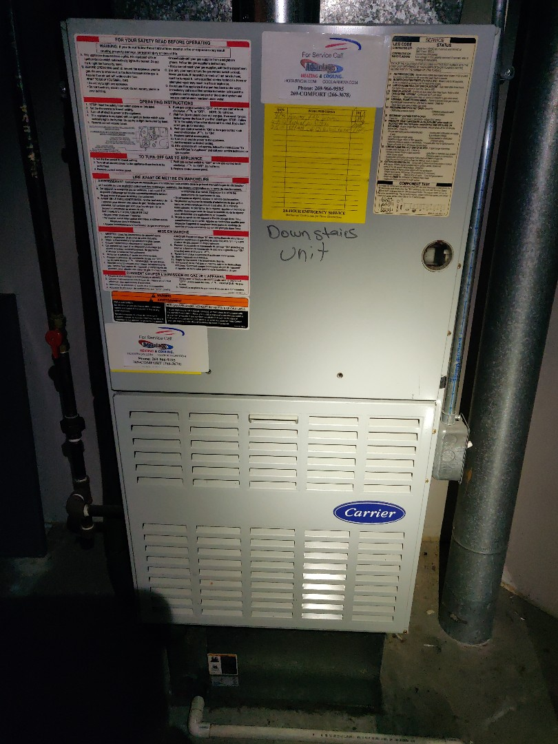 Battle Creek, MI - Performed Furnace tune up. Carrier. Change 16x20 air filters