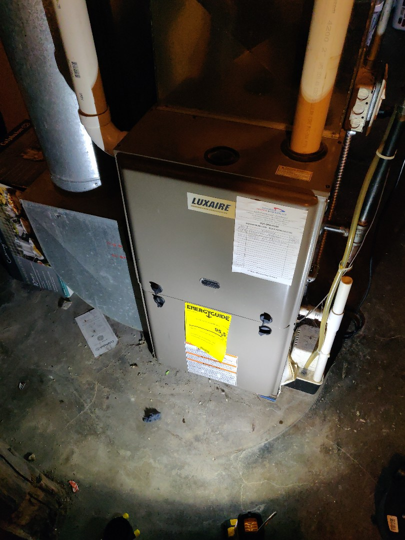 Battle Creek, MI - No heat service call replace draft inducer motor. Clean flame sensor  warranty. Luxaire.