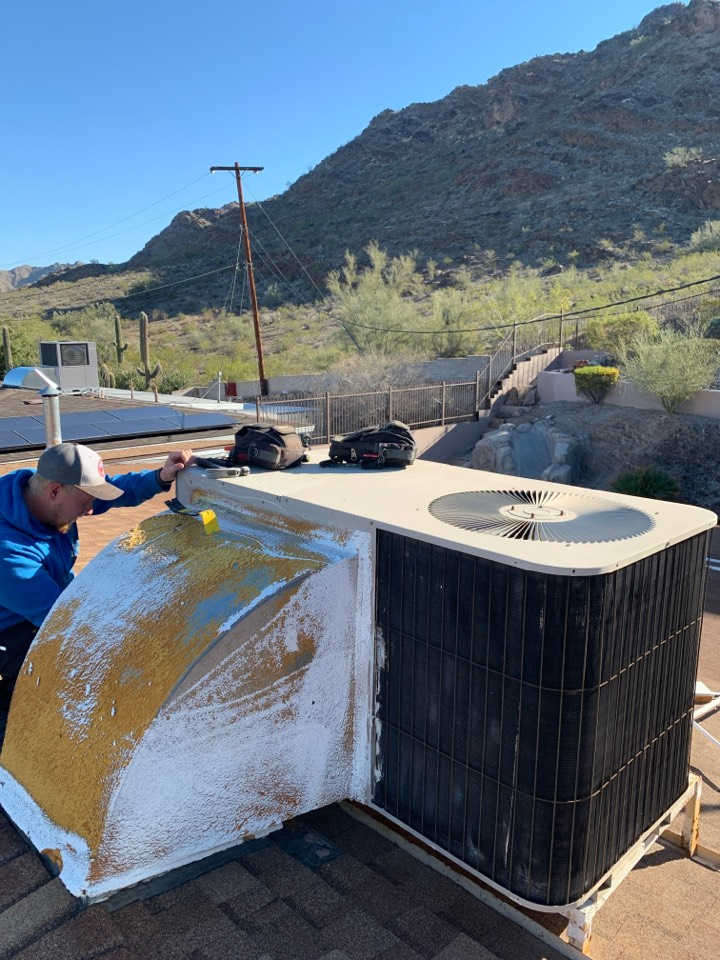 Phoenix, AZ - Starting on a rooftop heat pump replacement this morning in North Phoenix.