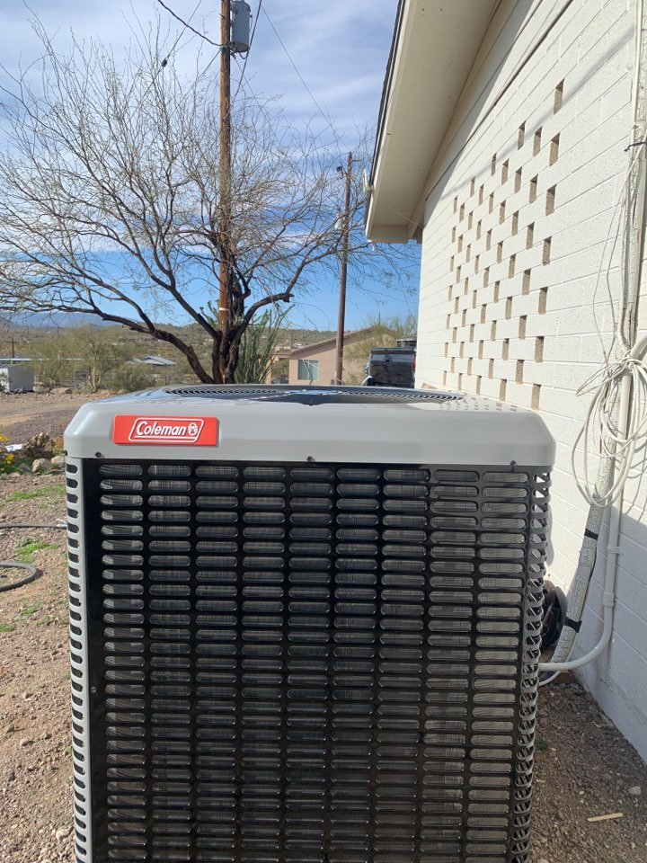 New River, AZ - New installed Coleman 16 seer split heat pump installed in New River today.  Client is ready for summer heat and lower power bills!!
