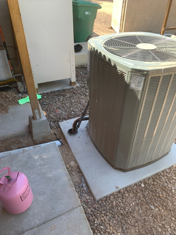 New River, AZ - Moved Trane condenser out from underneath a overhanging roof.