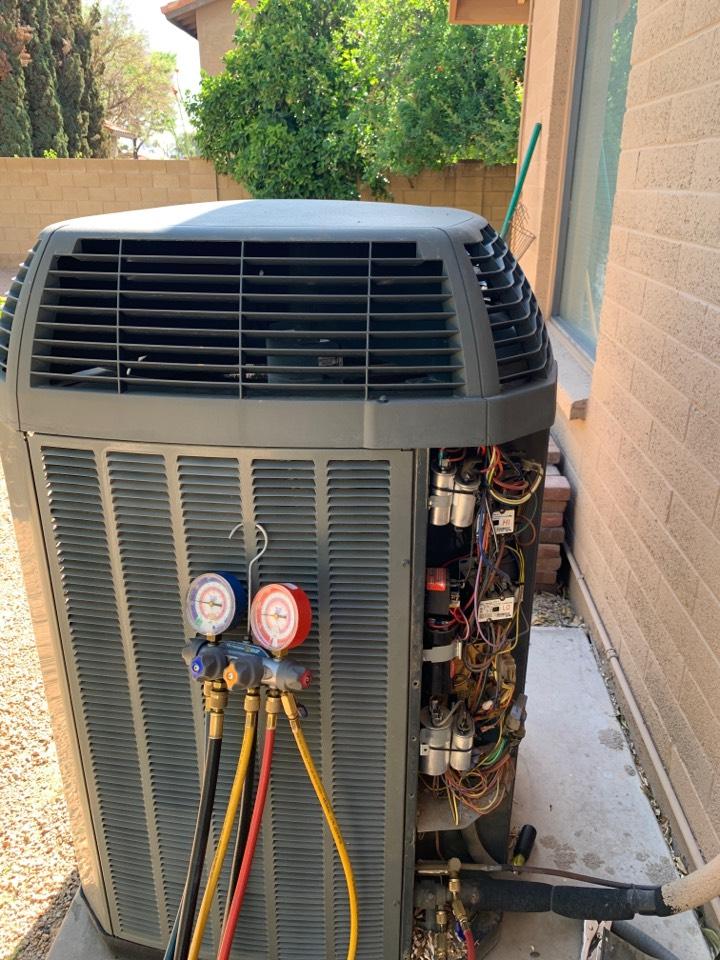 Scottsdale, AZ - Summer check up on Trane XL19i split heat pump.  Insuring system is ready for summer season!!!