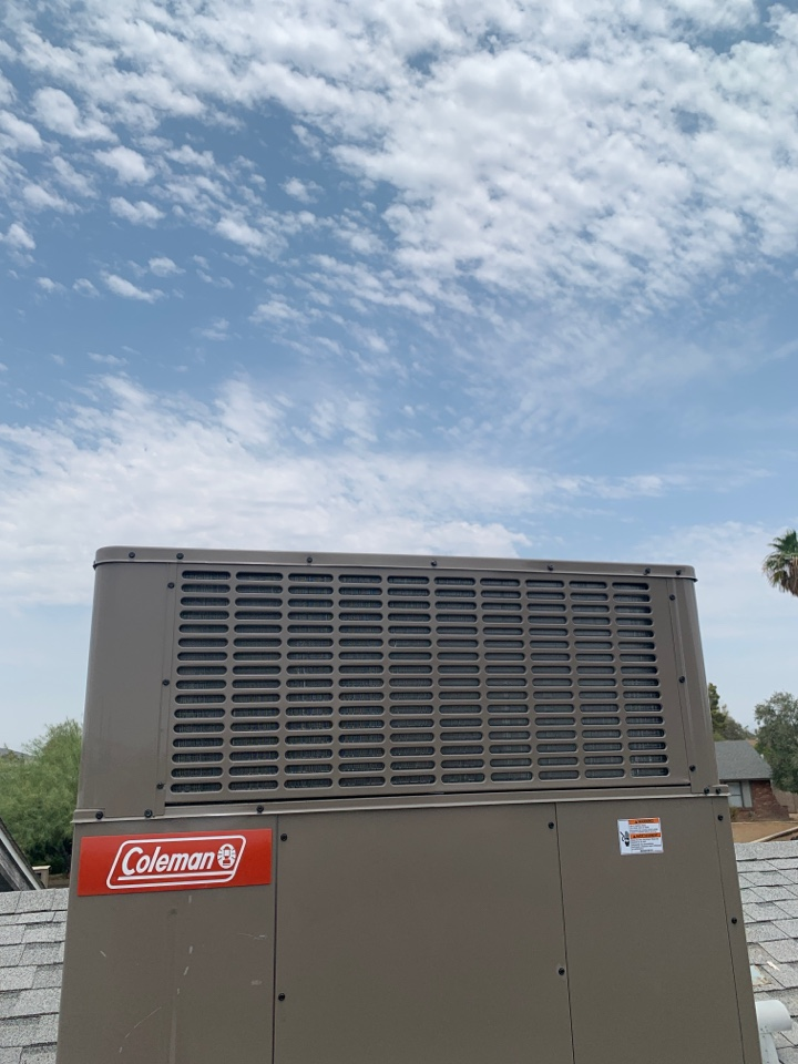 Phoenix, AZ - Installation of new Coleman 2 stage heat pump in north Phoenix.  Client is ready for a hot Az summer with new a high efficiency air conditioning system