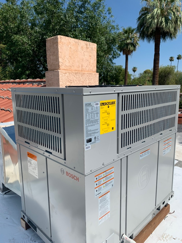 Phoenix, AZ - New Bosch variable speed heat pump installed on home today.  Homeowner is excited for lower power bills and improved comfort.