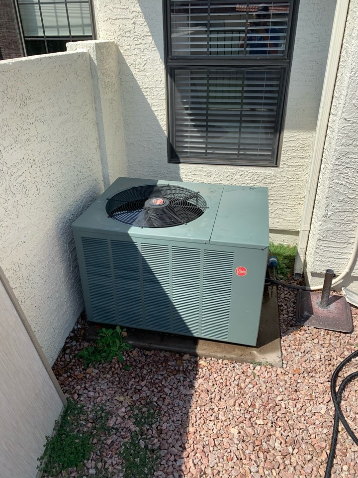 Scottsdale, AZ - Inspected rheem split heat pump. Found system cooling as designed but outdoor fan motor may go out in future due to condenser being so close to wall and not letting enough air through. May be a problem we have to address in future.