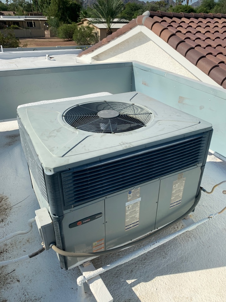 Scottsdale, AZ - Installed new outdoor fan motor on Trane gas pac air conditioner due to the fact the old one was overheating and not allowing system to cool. Now system is cooling as designed.
