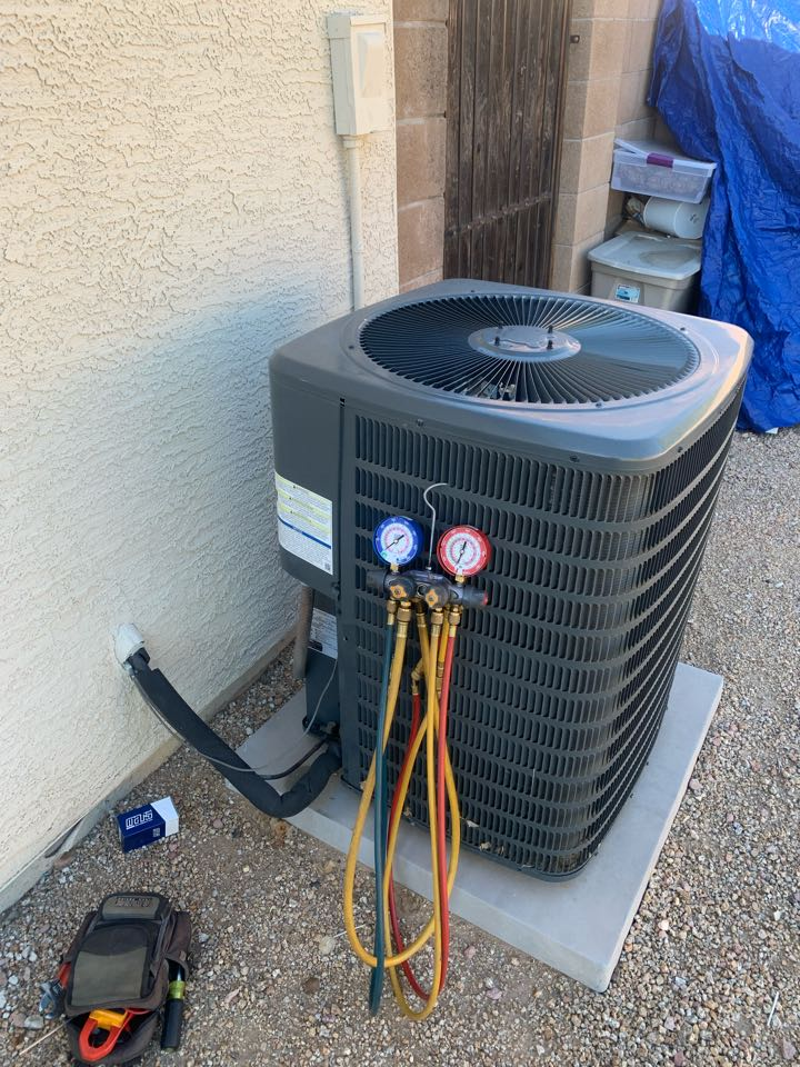 El Mirage, AZ - This Goodman Air conditioning unit was not cooling. Found the capacitor for the compressor to be out of juice. Replaced run capacitor. Unit is back up and cooling.