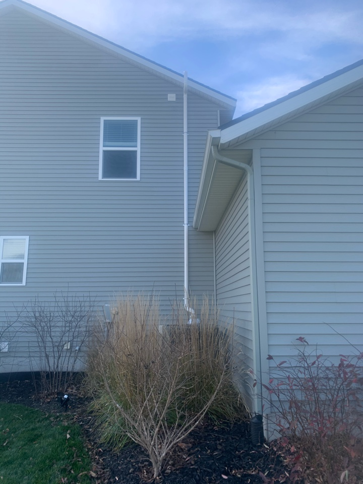 Lowell, MI - This picture is of a exterior radon mitigation system that we installed in Lowell Michigan.