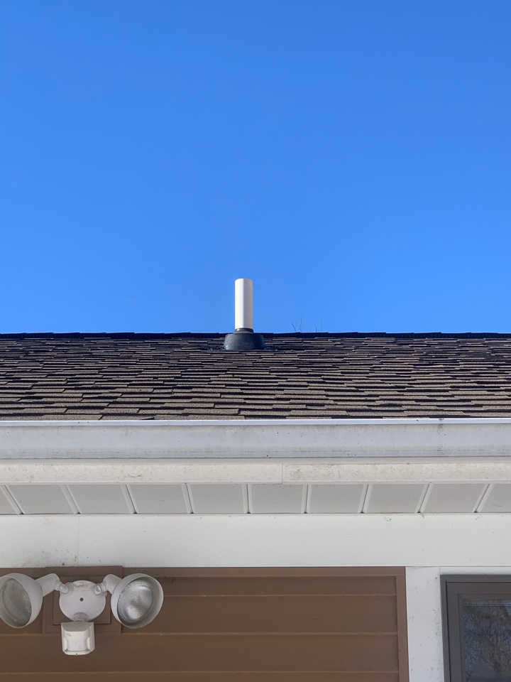 Rockford, MI - Today we installed a radon mitigation system in a house by routing the system from a crawl space up into the garage attic. This system is hidden from view on the outside of the house and was the best option.