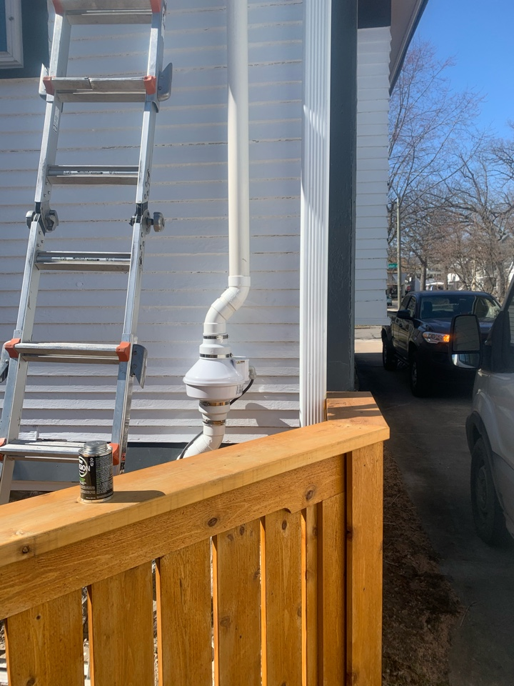Grand Rapids, MI - This radon mitigation systems will make this home a safe place to live once the radon fan is turned on later today when the job is completed.