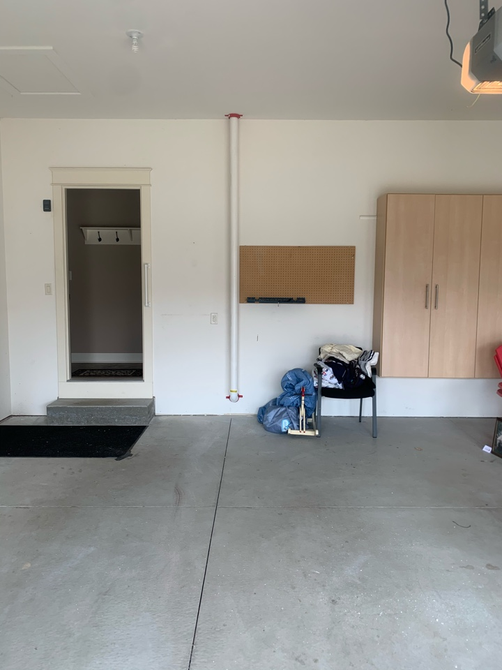Caledonia, MI - Here's a picture of a radon mitigation system we just installed for this condo. This style of radon mitigation system is more expensive but great because most of the system is hidden from view on the exterior of the home.