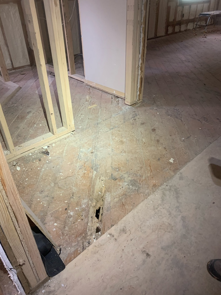 Grand Rapids, MI - This same customer we did the radon mitigation work for has sign of extensive termite damage. The termites ate right through the floor of this house to the point where it's unsafe to walk on in the damaged areas. We specialize in getting rid of termites and have been doing termite work for decades.
