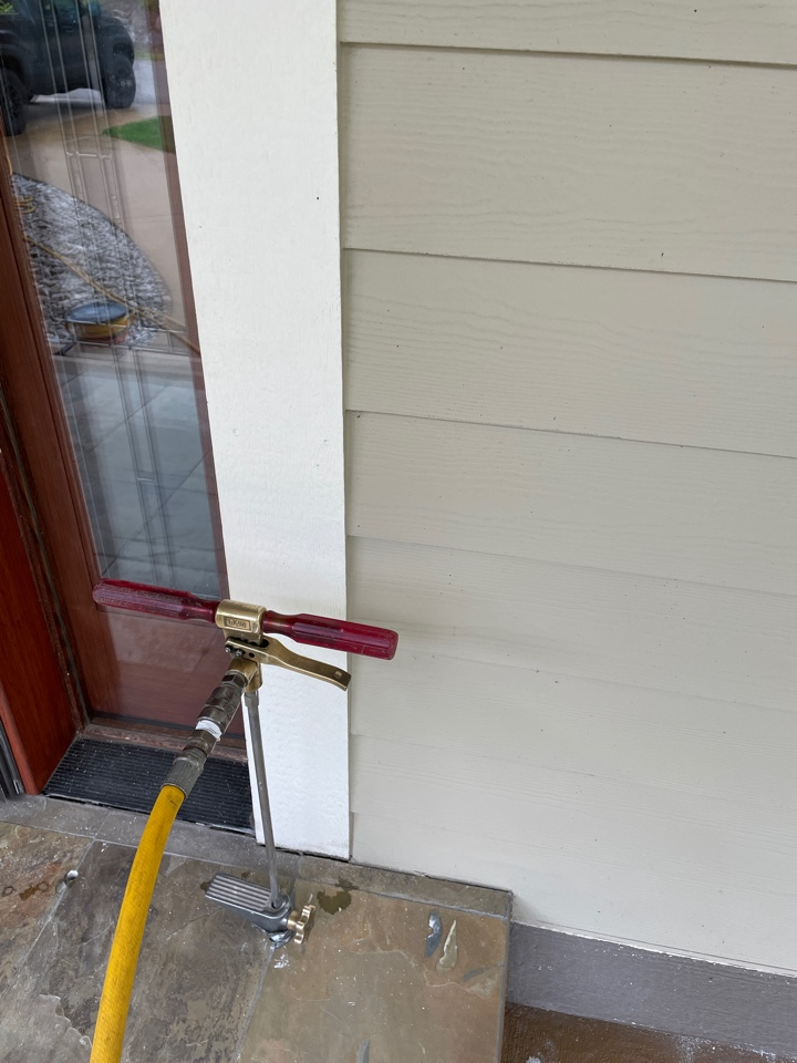 Rockford, MI - Termite treatment slab injection at front porch where termites swarmed.