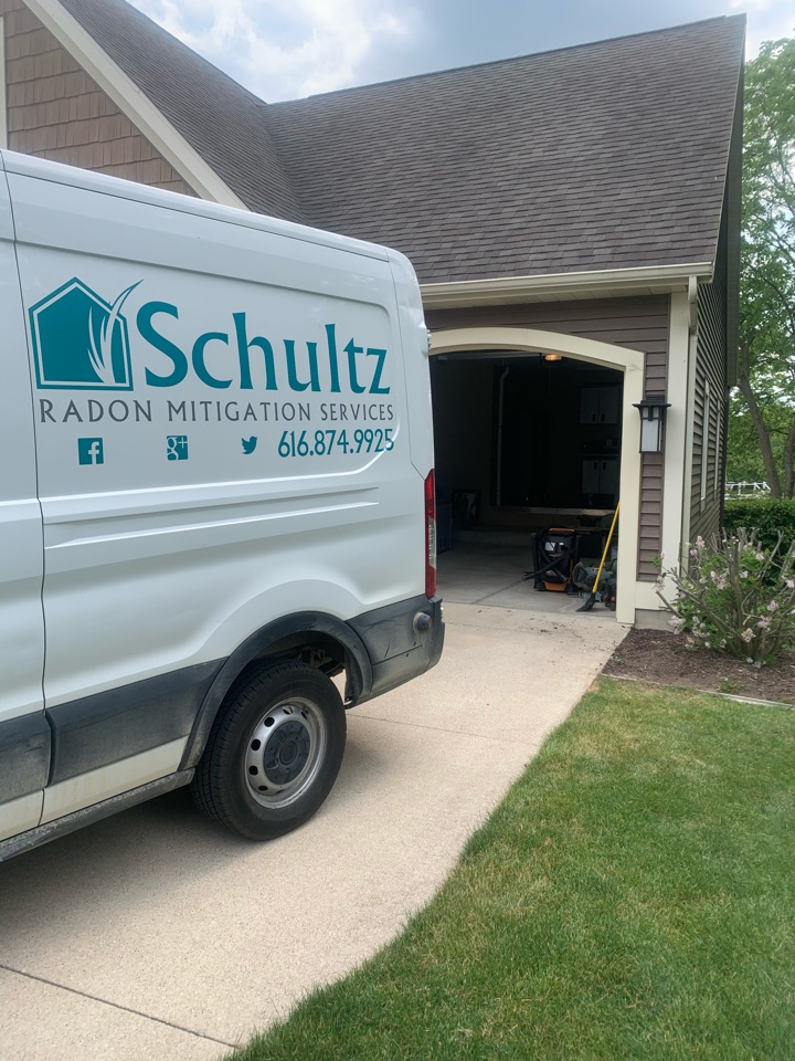 Ada, MI - Another radon mitigation system installed perfectly inside the attic space of this home.