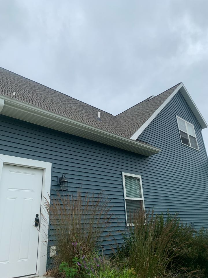 Grand Rapids, MI - Just finished up a radon mitigation system installation on this house. This radon system was installed up in the garage attic.