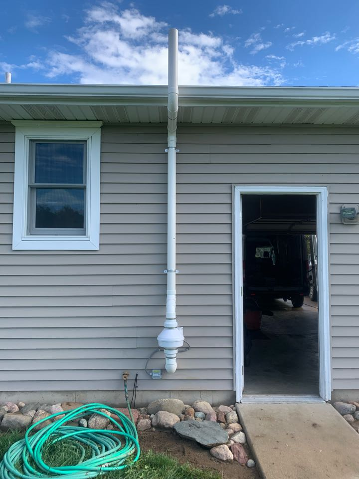Sunfield, MI - Another happy customer and another radon mitigation system installed, making people's homes safe from the dangers of radon gas.