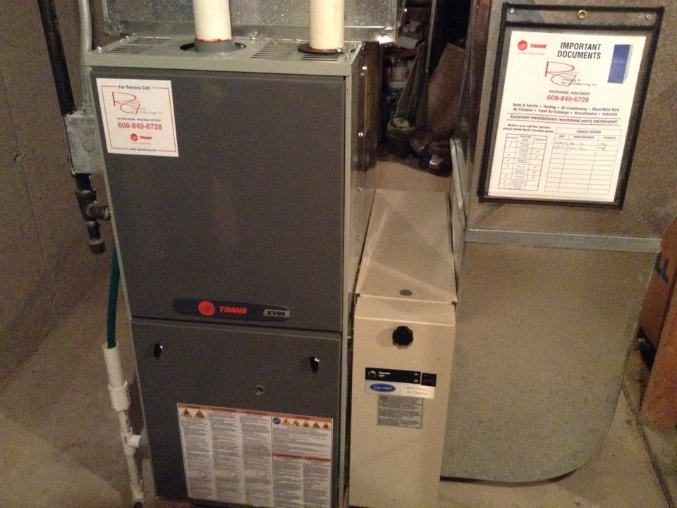 Cottage Grove, WI - Furnace maintenance on Trane furnace
