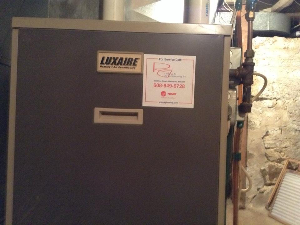 Lodi, WI - Furnace maintenance on a Luxaire furnace