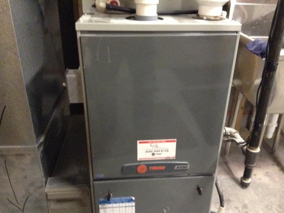Poynette, WI - Furnace maintenance on a Trane furnace