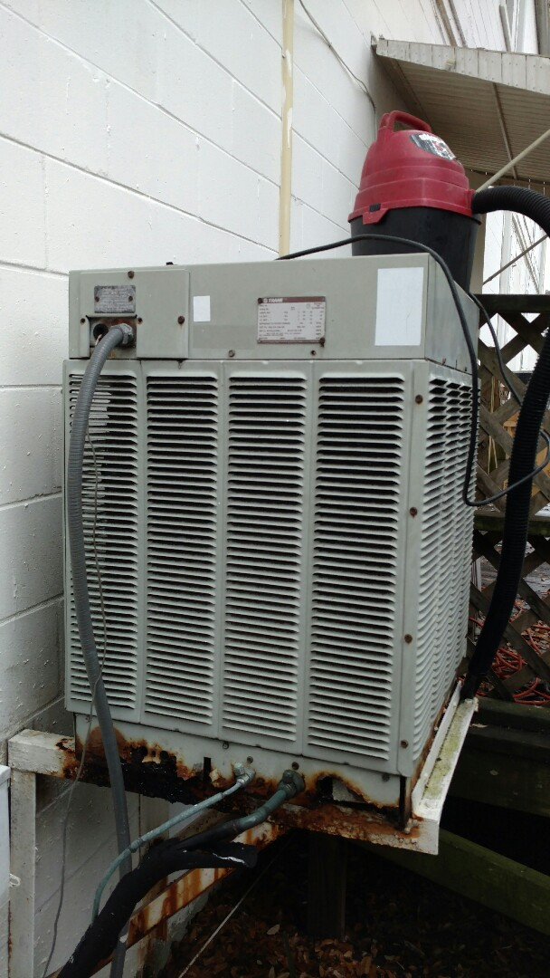 Tampa, FL - Performing maintenance on a Trane split system air conditioner in Tampa Florida