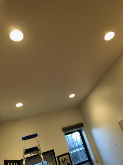 Ran new lines to ceiling and install four 6 inch recessed light