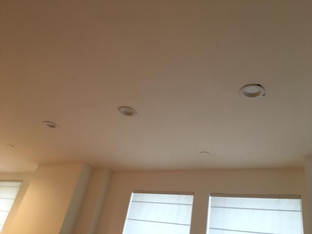 Recessed lighting installation with 4 inch round LED trims