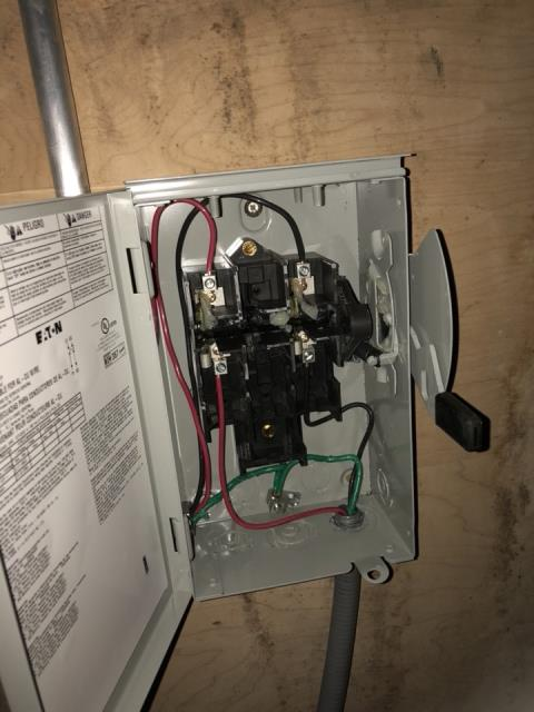 Disconnect installation for AC condenser unit