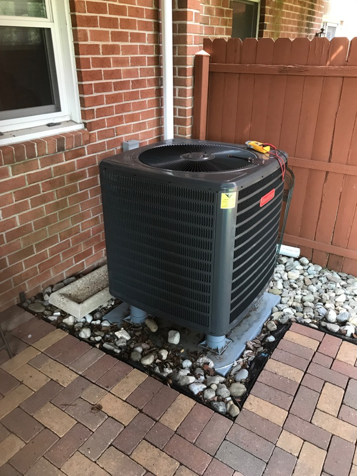 Tech installed HVAC electrical current surge protector for both indoor Goodman Air handler and outdoor Goodman heat pump condenser unit.