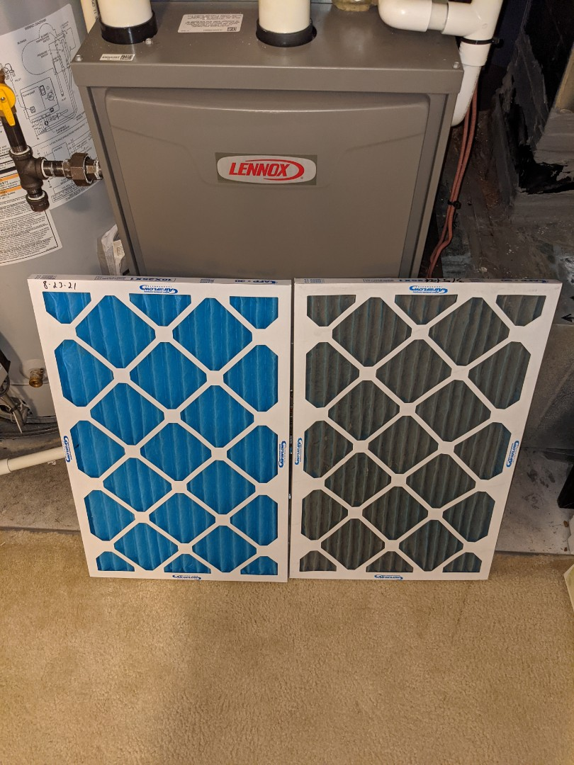 Tech changed filters for AC Maintenance.