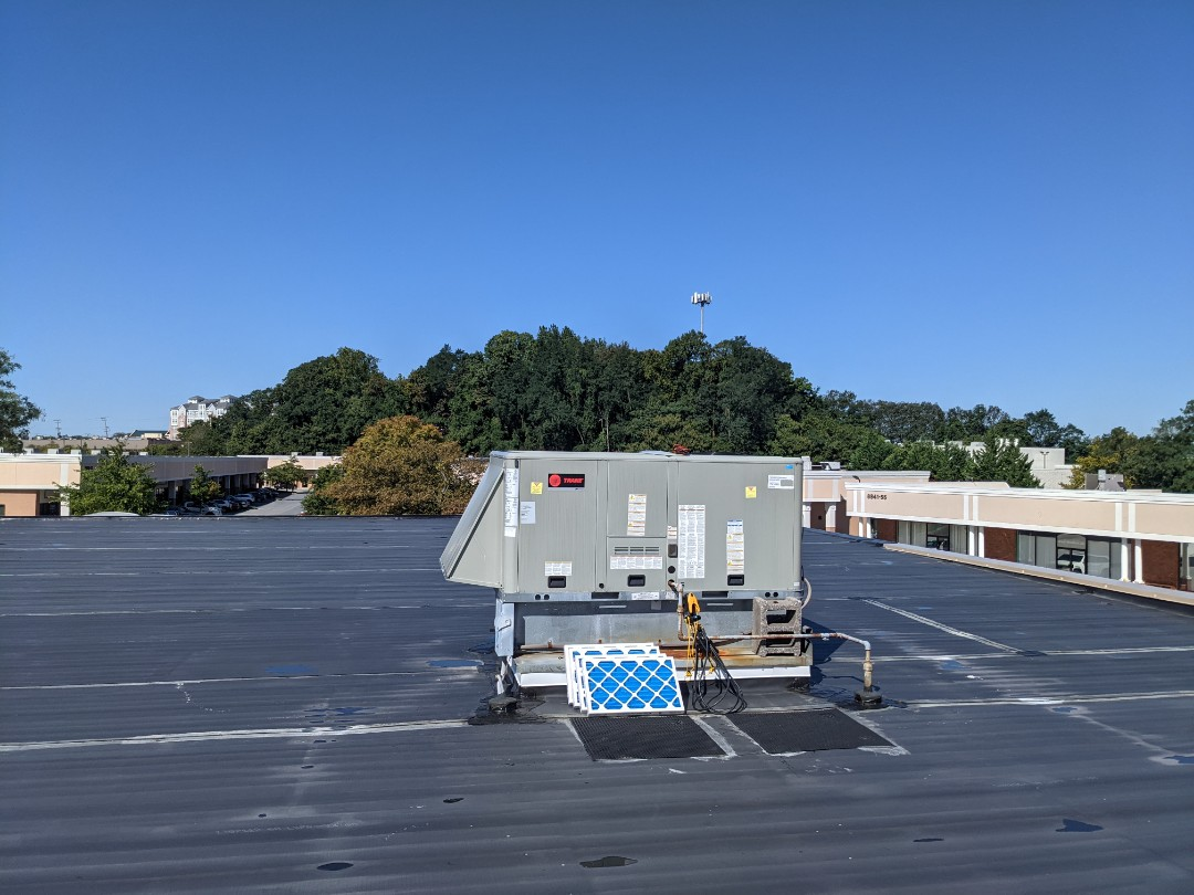 We performed a commercial roof top cooling maintenance. We checked all electrical and mechanical components and changed filters.