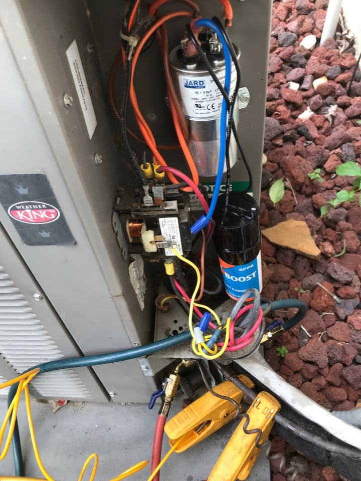 Steven found 16 Year old 4 ton AC system not blowing cool air due to a bad capacitor.  During AC repair, Steven replaced capacitor and fixed electrical wiring. AC blow cool air now.