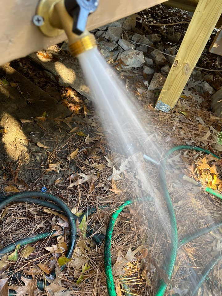 Installed new hose bib because freeze made it pop for Miss April and Mr. Bert