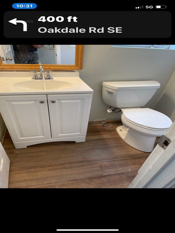 Just finished installing new vanity in bathroom and reinstall toilet bowl good customer great job