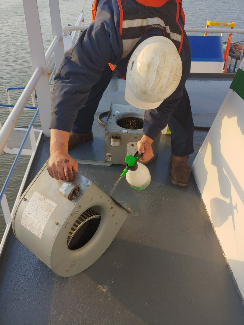 Channelview, TX - Cleaning and service on a tug boat ac blower