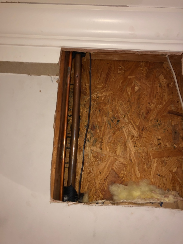 Houston, TX - Performed leak repair on copper line for for heavy. Line was punctured with nail from crown molding