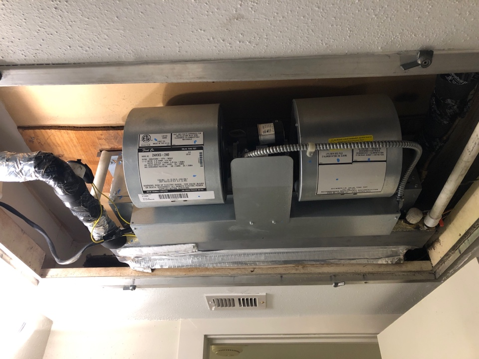 Houston, TX - Performed hvac maintenance for cooling on system in bathroom ceiling. No system to large or to small for service