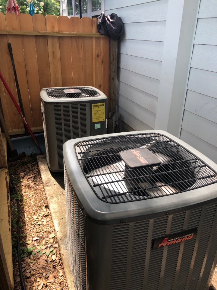 Houston, TX - Performed fan motor and cap booster repair on two Amana systems