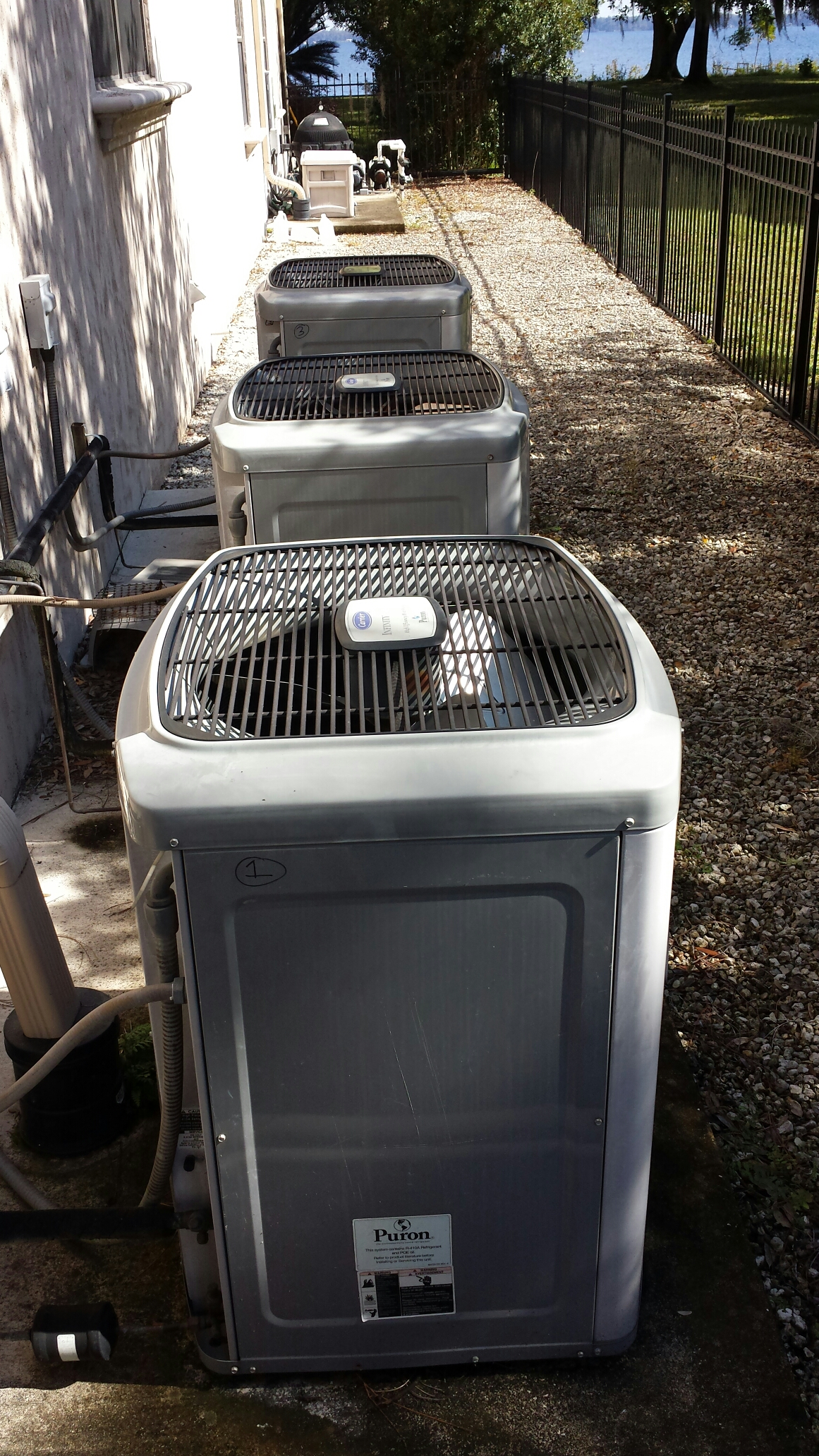 Green Cove Springs, FL - Tune up maintenance on 4 Carrier heat pumps.
