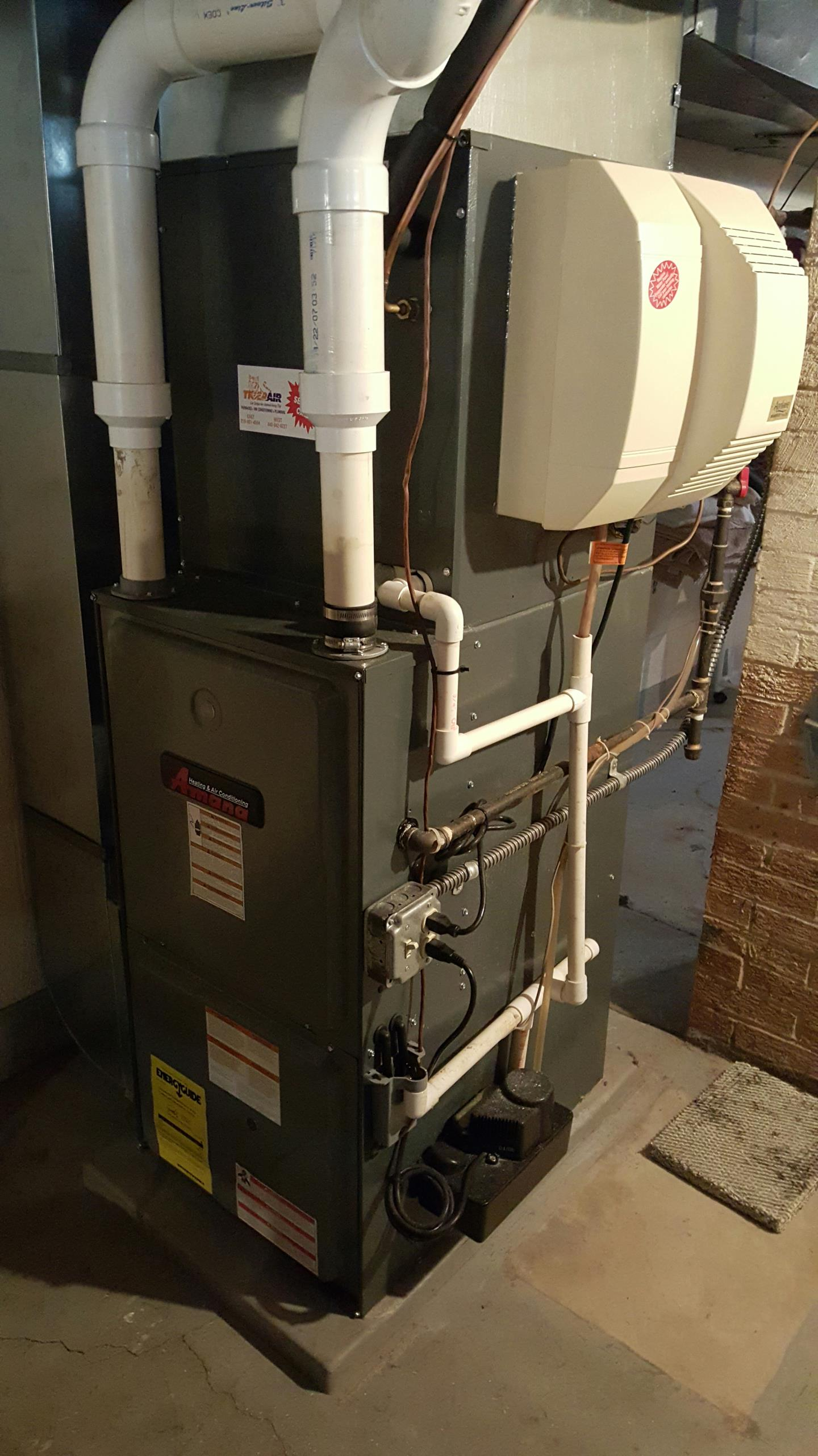Furnace cleaned and check.