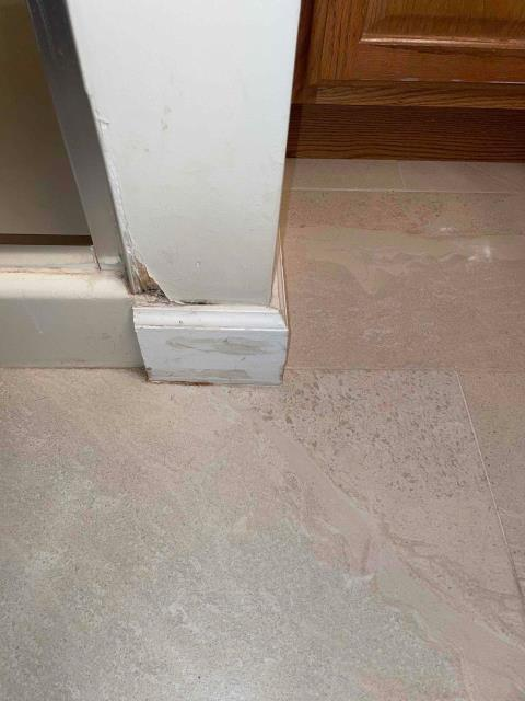 Gaithersburg, MD - Mold is visible in the master bathroom on the walls on either side of the shower. The cause is caulking that has worn out for the shower door. This has let water seep out and into the drywall. Mold remediation needed.