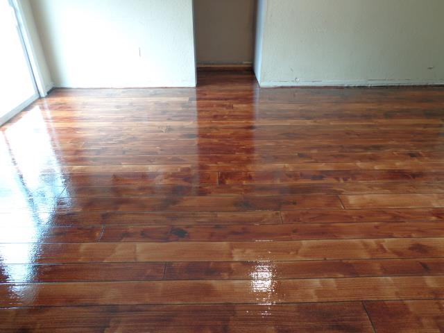 Might as well be a real wood floor! That's how good the coating is! Definitely one of the best wood floor decorative concrete coatings I've seen. Decorative Concrete Columbus is a great go-to choice to get the job done right the first time!