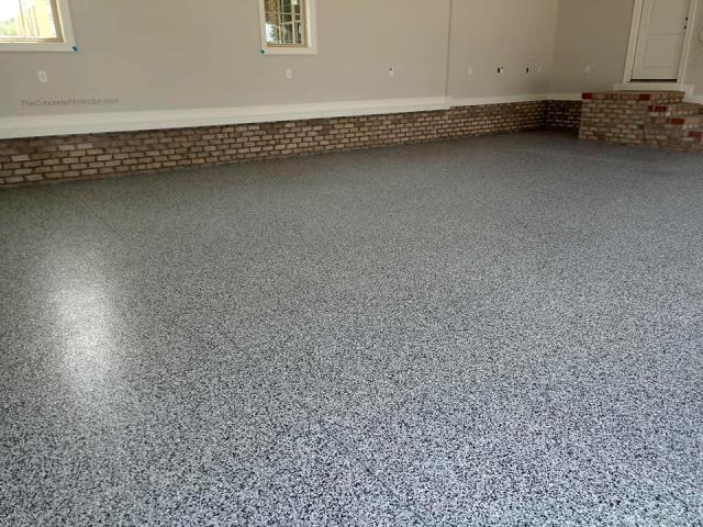 Decorative Concrete Columbus did a great job resurfacing the concrete in our garage! The floor had a lot of pits and cracks from years of salt and Ohio weather. The GraniFlex color overlay that I selected turned out great as well! It creates an easy-to-clean surface that also provides a decorative look! My wife and I love it! We highly recommend their services to anyone wanting to remodel their concrete surfaces!