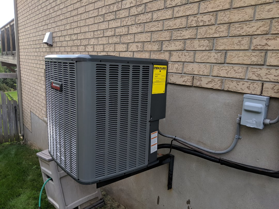 Install new Amana 16 SEER air conditioner