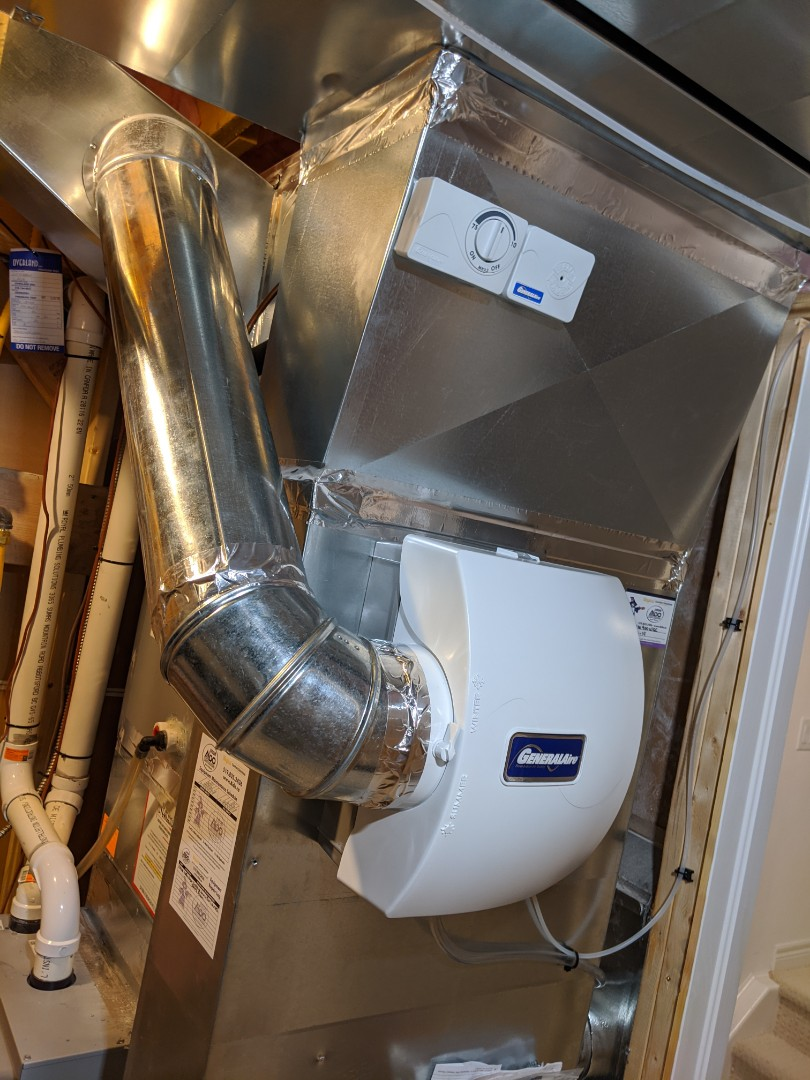 Install new Whole House Humidifier with Water Saver Module that saves up to 70% water compared to regular humidifiers.
