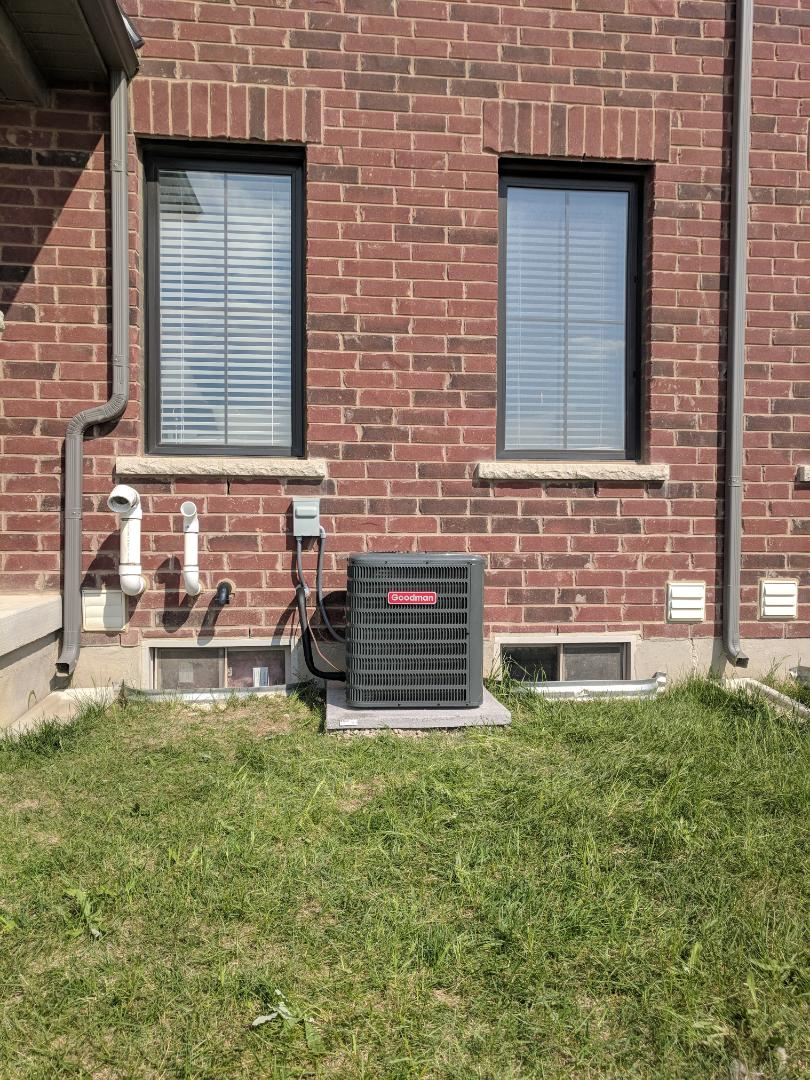 Hamilton, ON - Installed new Goodman Air Conditioner.